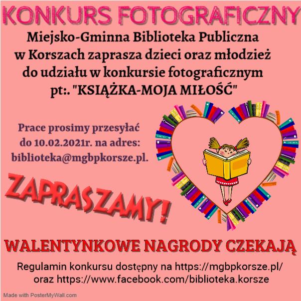 """Ilustracja do informacji: KONKURS FOTOGRAFICZNY """"KSIĄŻKA - MOJA MIŁOŚĆ"""""""