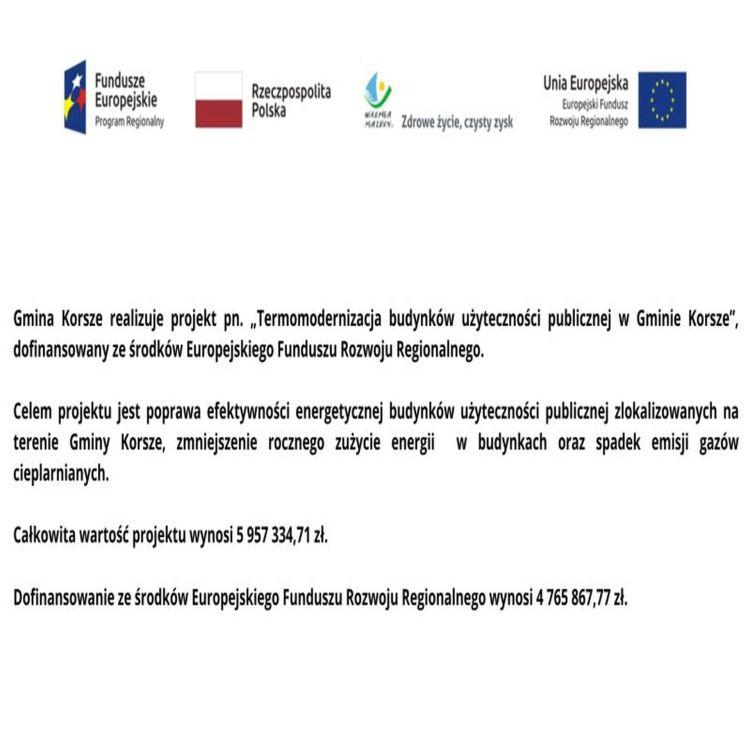 """Baner: Dofinansowanie dla projektu pn. """"Termomodernizacja budynków użyteczności publicznej w Gminie Korsze"""""""