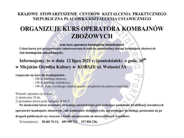 Ilustracja do informacji: KURS OPERATORÓW KOMBAJNÓW ZBOŻOWYCH