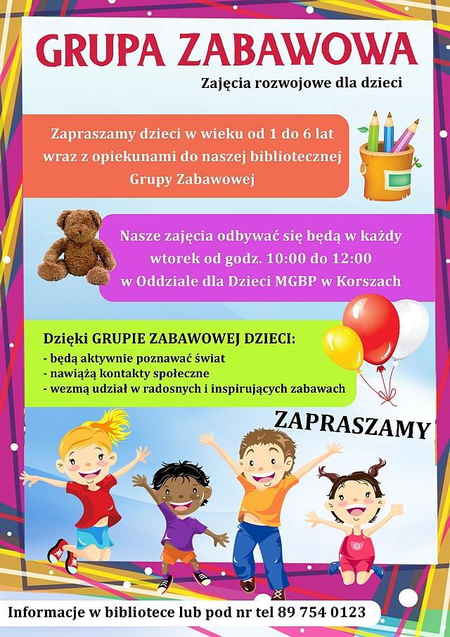 Baner: Grupa zabawowa, zajęcia rozwojowe dla dzieci