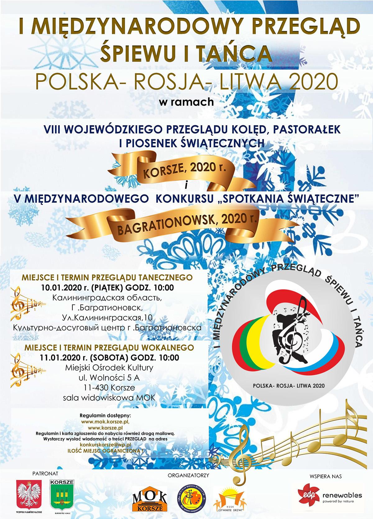 Ilustracja do informacji: I MIĘDZYNARODOWY PRZEGLĄD ŚPIEWU I TAŃCA POLSKA - ROSJA - LITWA 2020