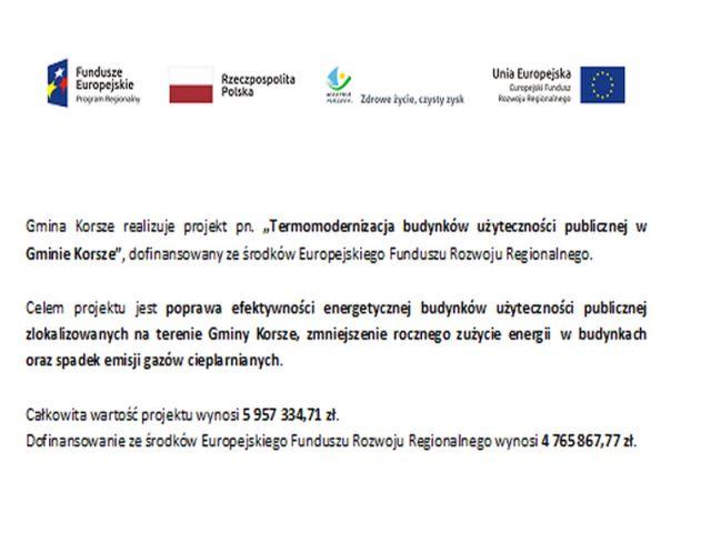 """Ilustracja do informacji: Dofinansowanie dla projektu pn. """"Termomodernizacja budynków użyteczności publicznej w Gminie Korsze"""""""